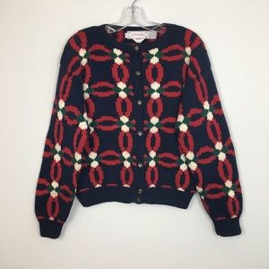 VTG J. Christopher Holiday Hand Knit Cardigan. L